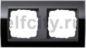Рамка 2 поста, для горизонтального/вертикального монтажа, пластик прозрачный черный-антрацит