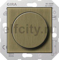 Диммер (светорегулятор) поворотный 60-600 Вт для ламп накаливания и галогенных 220В, бронза