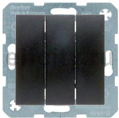 Выключатель трехклавишный, 16 А / 400 В, с винтовыми зажимами, пластик антрацит