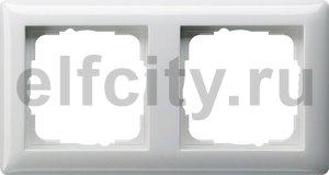 Рамка 2 поста, для горизонтального/вертикального монтажа, пластик белый глянцевый