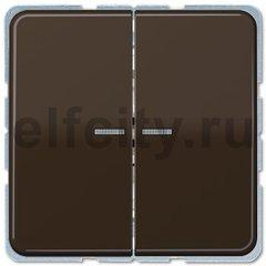 Выключатель двухклавишный с подсветкой, 10 А / 250 В, коричневый