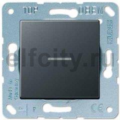 Выключатель одноклавишный с подсветкой, универс. (вкл/выкл с 2-х мест) 10 А / 250 В, антрацит