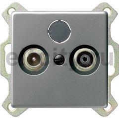 Розетка телевизионная оконечная TV SAT FM, диапазон частот от 4 до 2400 Mгц, нержавеющая сталь