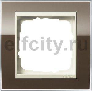 Рамка 1 пост, пластик прозрачный коричневый-кремовый глянец