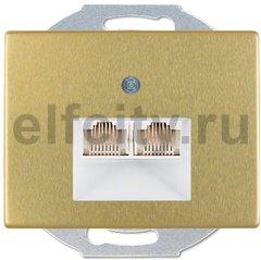 Розетка телефонная двойная RJ11, металл под золото