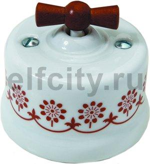Диммер поворотный 60-500 Вт. для ламп накаливания и галоген., 220В, наружный монтаж, белый фарфор / коричневый декор, ручка мёд
