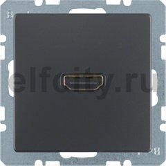 Розетка HDMI, антрацитовый, с эффектом бархата.