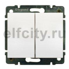 Выключатель двухклавишный, проходной (вкл/выкл с 2-х мест), 10 А / 250 В, пластик белый глянцевый