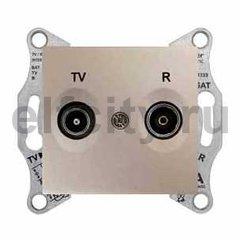 Розетка телевизионная проходная TV/FM, диапазон частот от 4 до 2400 Mгц, титан