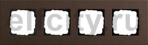 Рамка 4 поста, для горизонтального/вертикального монтажа, коричневый