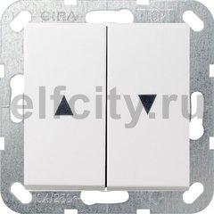 Выключатель управления жалюзи кнопочный, 10 А / 250 В, пластик белый матовый