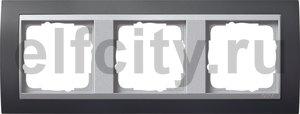 Рамка 3 поста, для горизонтального/вертикального монтажа, пластик черный/алюминий
