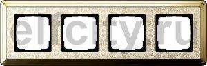 Рамка 4 поста, для горизонтального/вертикального монтажа, латунь/кремовый