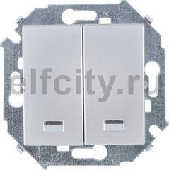 Выключатель двухклавишный с подсветкой, 10 А / 250 В, алюминий