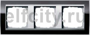 Рамка 3 поста, для горизонтального/вертикального монтажа, пластик прозрачный черный-алюминий