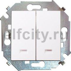 Выключатель двухклавишный с подсветкой, 10 А / 250 В, белый