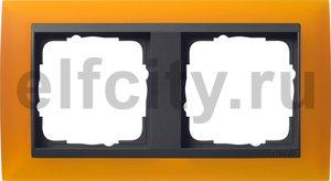 Рамка 2 поста, для горизонтального/вертикального монтажа, пластик матово-янтарный/антрацит