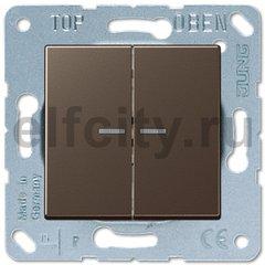 Выключатель двухклавишный с подсветкой, 10 А / 250 В, мокко