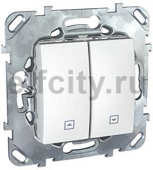 Выключатель управления жалюзи кнопочный, 10 А / 250 В, пластик белый