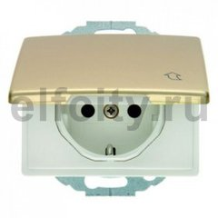 Розетка IP44 с заземляющими контактами 16 А / 250 В, с крышкой и защитой от детей, автоматические зажимы, и уплотнительной мембраной, металл под золото