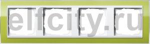 Рамка 4 поста, для горизонтального/вертикального монтажа, пластик прозрачный зеленый-глянц.белый