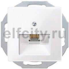 Розетка телефонная одинарная RJ11, пластик белый глянцевый