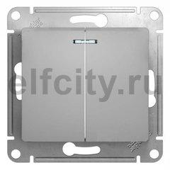 Выключатель двухклавишный с подсветкой, проходной (вкл/выкл с 2-х мест) 10 А / 250 В, алюминий