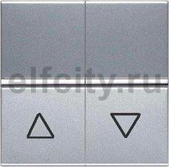Механизм выключателя жалюзи клавишный, с фиксацией, 2-модульный, серия Zenit, цвет серебристый