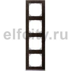 Рамка 4 поста, для горизонтального/ вертикального монтажа, венге/алюминий