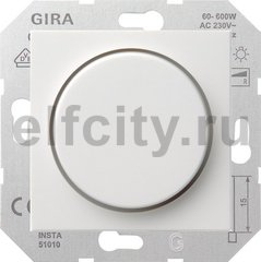 Диммер (светорегулятор) поворотный 60-600 Вт для ламп накаливания и галогенных 220B, пластик белый матовый