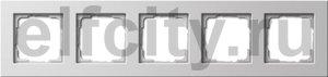 Рамка 5 постов, для горизонтального/вертикального монтажа, пластик белый глянцевый