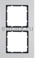 Рамка 2 поста, для горизонтального/вертикального монтажа, металл алюминий/антрацит
