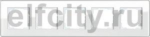 Рамка 5 постов, для горизонтального/вертикального монтажа, стекло белое Glass C