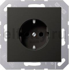 Розетка с заземляющими контактами 16 А / 250 В, пластик антрацит