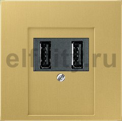 Зарядное USB устройство на два выхода , 2х750 мА / 1х1500 мА, латунь классик
