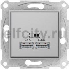 Розетка USB для зарядки мобильных устройств 2,1А (2x1,05А), алюминий