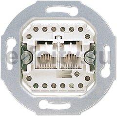 Механизм 2-постовой телефонной розетки 2х8 полюсов, параллельно, RJ 11/12; RJ 45; ISDN, категория 3