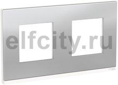 Рамка 2 поста, для горизонтального монтажа, алюминий матовый/белый