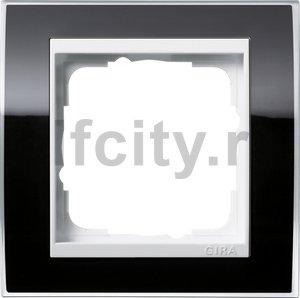 Рамка 1 пост, пластик прозрачный черный-глянц.белый