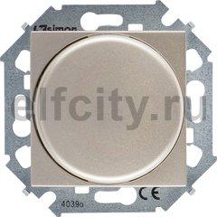 Диммер (светорегулятор) поворотно-нажимной 40-500 Вт для ламп накаливания и галогенных 220В, шампань