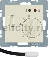 Регулятор температуры помещения пола с замыкающим контактом, с центральной панелью и светодиодом, S.1, цвет: белый, глянцевый
