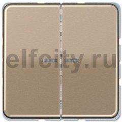 Выключатель двухклавишный с подсветкой, 10 А / 250 В, светлая бронза