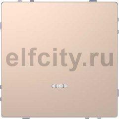 Выключатель одноклавишный с подсветкой, проходной (вкл/выкл с 2-х мест) 10 А / 250 В, шампань