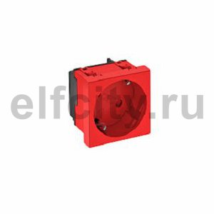 Розетка одинарная 33° с з/к, 250 В, 16A (красный)