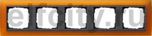 Рамка 5 постов, для горизонтального/вертикального монтажа, пластик матово-янтарный/антрацит