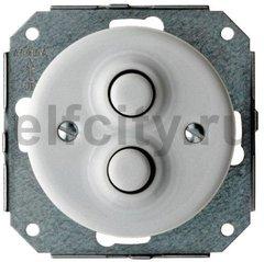 Выключатель кнопочный двойной, работает только в импульсном режиме, 10А / 250В, фарфор белый
