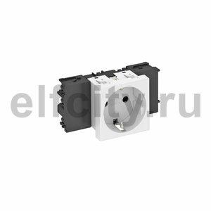 Розетка одинарная 0° Modul45connect с з/к, 250 В, 16A (белый)