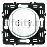 Выключатель, переключатель двухклавишный с подсветкой, (вкл/выкл с 1-го и 2-х мест) 10 А / 250 В, белый