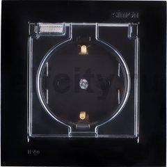 Розетка с заземляющими контактами 16 А / 250 В, с откидной крышкой и уплотнительной мембраной IP44, комплектуется рамкой, черный