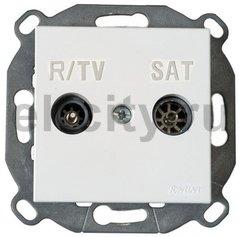 Розетка телевизионная одиночная TV/FM SAT, диапазон частот от 4 до 2400 Mгц, коричневый